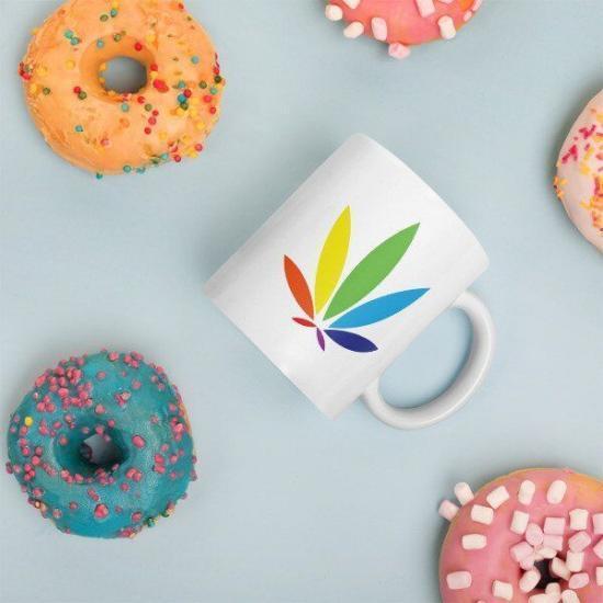 rainbow leaf mug, marijuana leaf mug, potography colorleaf mug with cookies and sugarcubes