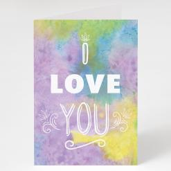 "I Love You Watercolor Cannabis, cannabis greeting cards, recycled greeting cards, ""i love you"" watercolor greeting card by potography cannabis cards and gifts"