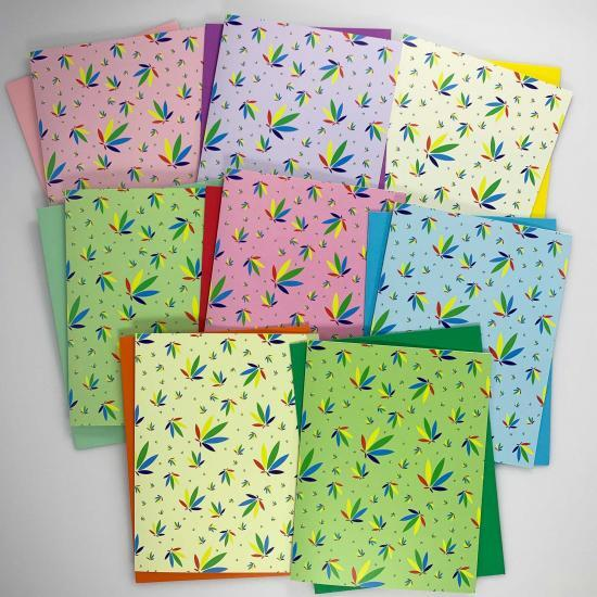 cannabis greeting cards, recycled greeting cards, potography colorleaf pattern cards with matching astrobrights envelopes