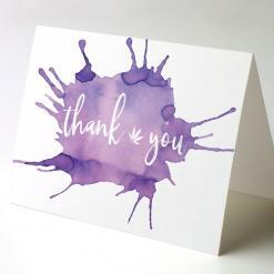 Watercolor Thank You cards, Thank You Watercolor Splash 3, cannabis thank you cards, cannabis greeting cards potography watercolor splash 3 recycled thank you cards
