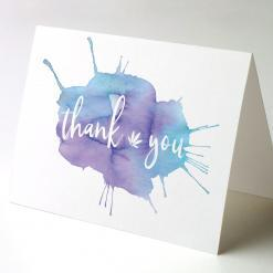 Thank You Watercolor Splash 6, cannabis thank you cards, cannabis greeting cards potography watercolor splash 6 recycled thank you cards