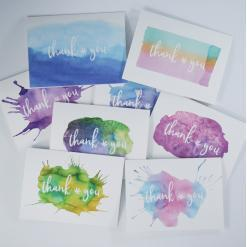 cannabis thank you cards, recycled thank you cards, potography 8 pack thank you watercolor cards