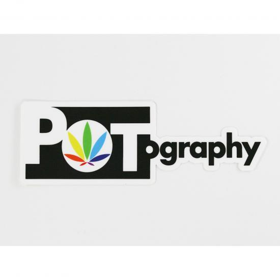 potography classic logo sticker, rainbow leaf, colorleaf, weed leaf stickers, marijuana stickers