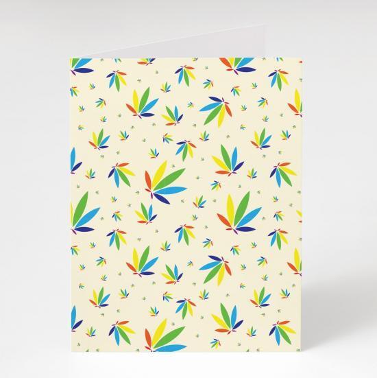 Cream Greeting Card, Cream Colorleaf Pattern Card, cannabis greeting cards, recycled greeting cards, cream colorleaf pattern potography cannabis art greeting card