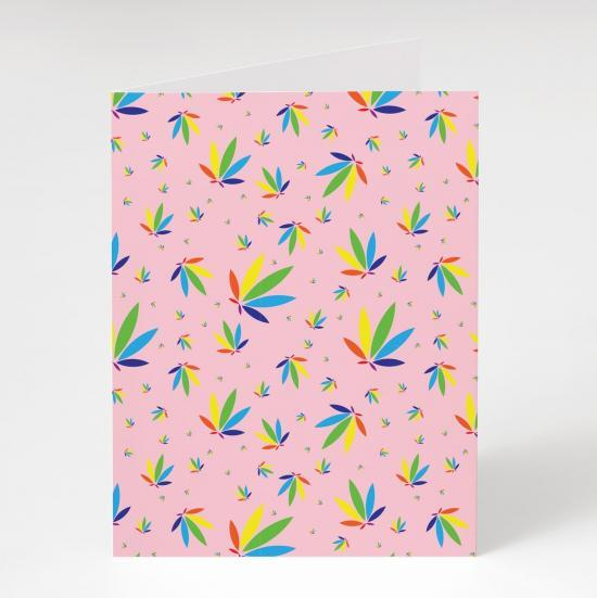 Pastel Pink Greeting Card, Pastel Pink Colorleaf Pattern Card, cannabis greeting cards, recycled greeting cards, pastel pink colorleaf pattern potography cannabis art greeting card