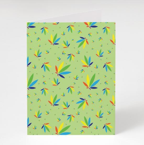Mint Greeting Card, Mint Colorleaf Pattern Card, cannabis greeting cards, recycled greeting cards, mint colorleaf pattern potography cannabis art greeting card