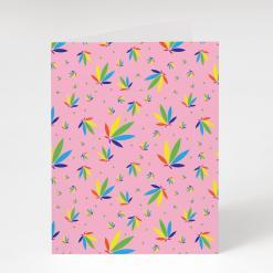 Passion Pink Greeting Card, Passion Pink Colorleaf Pattern Card, cannabis greeting cards, recycled greeting cards, passion pink colorleaf pattern potography cannabis art greeting card